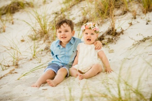 Sibling beach photo